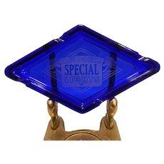 Vintage Mid-Century Cobalt Blue Special Diamond Shaped Camel Lights Cigarette Ashtray