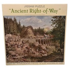 Vintage 1983 Leanin' Tree Ancient Right-of Way by Russ Vickers Jigsaw Puzzle by Nordevco