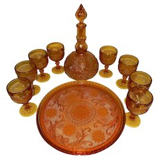 Vintage 1970's Amber Glass Decanter Set by Indiana Glass Company