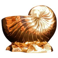 Vintage Mid-Century Hollywood Regency Style Solid Brass Nautilus Shell on Rocky Shore