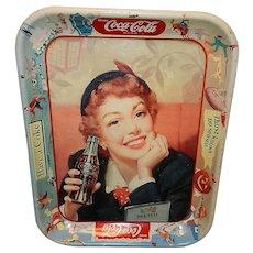 Vintage Mid-Century 1953 Coca-Cola Tray Menu Girl