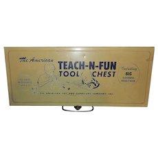 Vintage Mid-Century Teach-N-Fun Metal Children's Tool Chest