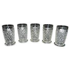 Vintage Set of 5 Anchor Hocking Clear Glass Hobnail Juice Glasses
