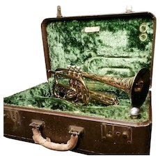 Vintage Buescher True Tone Aristocrat Scrolled Cornet Circa 1940's with Case