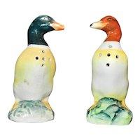 Vintage Occupied Japan Porcelain Mallard Duck Salt and Pepper Shakers