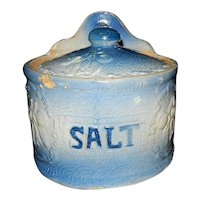 Antique Stoneware Hanging Blue and White Salt Box Crock Cherry or Peach Design with Lid