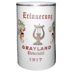 Antique Erinnerung Grayland  Liedertafel 1917 Beer Stein