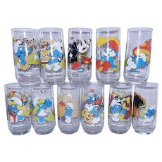 Vintage 1982-83 Peyo Hardees Smurf Glasses by Wallace Berry
