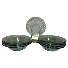 "Vintage Coca-Cola Embossed Green 7 ½"" Glass Bowls"