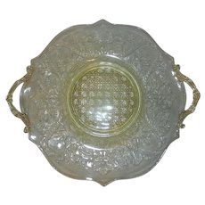 Vintage Yellow Lancaster Landrum Cane Pattern Depression Glass Two Handled Cake Plate or Sandwich Tray