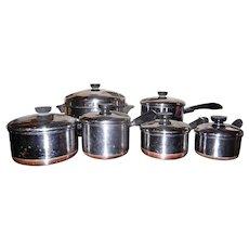 Vintage 1950's Revere Ware Clinton IL. Copper Bottom 6 Pan Set