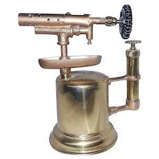 Antique Otto Bernz Co Brass Blow Torch Circa Early 1900's