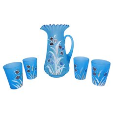 Antique Victorian-Era Hand-Painted Frosted Enamel Lemonade Set | Pitcher and Glasses