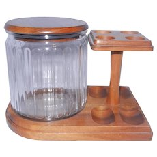 Vintage Aztec Glass Humidor with Wood Top and a 4 Pipe Rack Stand