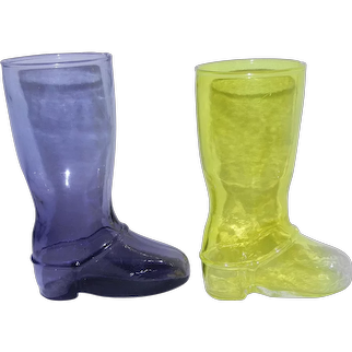 Vintage Colored Glass Beer Boots