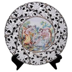 """Vintage Capodimonte 13 ½"""" Hand Painted Porcelain Wall Plate Made in Italy Numbered"""