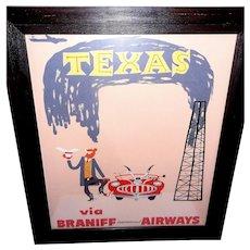 "Vintage Original ""Texas via Braniff International Airways"" Travel Poster, circa 1950s-60's"