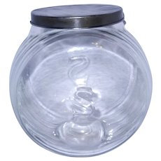 """Sellers Glass Counter Jar/Container with """"S"""" / """"Hoosier"""" Ribbed Canister 1924 Pat w/Lid"""