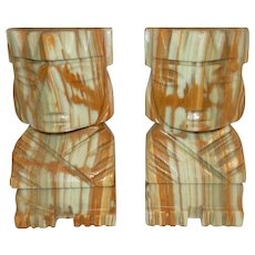 Vintage Pair of Aztec Onyx Bookends