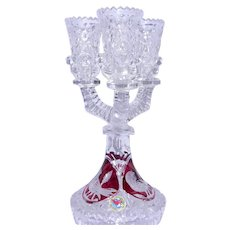"Vintage Hofbauer Bleikrisfall ""Byrdes"" Ruby Flashed Crystal 3 Prong Candle Holder 24+% Lead Crystal Germany"