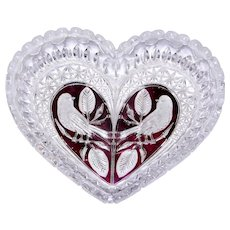 Hofbauer EHCT Byrdes Ruby Flashed Leaded Crystal Heart Shaped Bowl