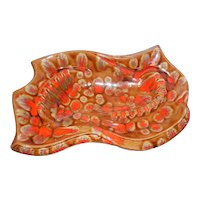 Mid-Century Large Orange and Brown Ashtray- California Pottery