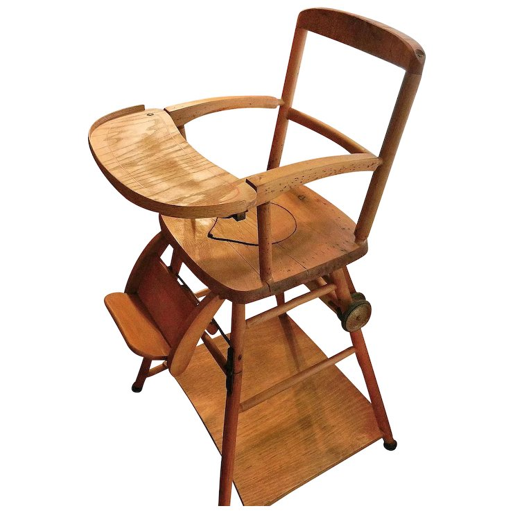 Vintage Wooden High Chair, Potty Chair and Play Chair in One - Vintage Wooden High Chair, Potty Chair And Play Chair In One : My
