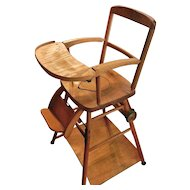 Vintage Wooden High Chair, Potty Chair and Play Chair in One
