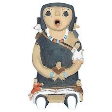 Vintage Pueblo Storyteller with Six Children