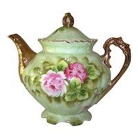 Vintage 1948 Lefton Green Heritage Rose China Coffee Pot
