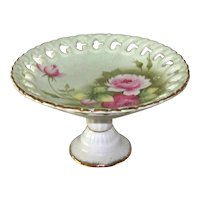Vintage 1948 Lefton Green Heritage Rose China Round Compote