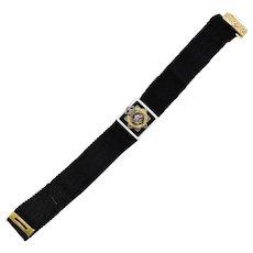 Canada WW1 CASC 14kt Diamond Enamel Ribbon Bracelet