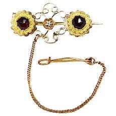 18k Victorian Etruscan Revival Garnet Brooch Pin