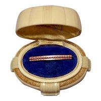 15ct Art Deco Seed Pearl Enamel Brooch