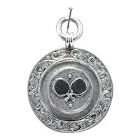 Vintage 1940s Sterling Watch Fob Medal; Table Tennis