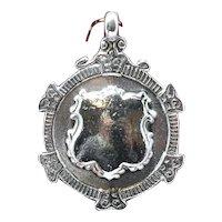 Vintage English Sterling Watch Fob Medal; circa 1928 Birmingham; Unengraved
