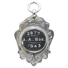 Vintage English Sterling Fob Award Medal Pendant