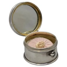 Antique English Sterling Chatelaine Powder Compact; circa 1912
