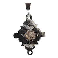 Victorian Aesthetic Sterling and Gold Floral Pendant Necklace; Stickpin Conversion