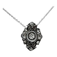 Victorian Sterling Scrolled Floral Pendant Choker Necklace; Stickpin Conversion