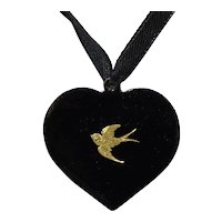 Antique Enamel on Copper Pendant; Heart with 9ct Gold Swallow