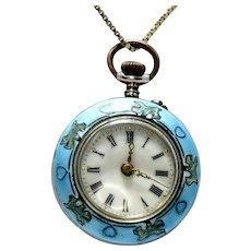 Antique Art Nouveau Ladies Silver Enamel Pocket Watch