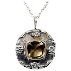 Arts and Crafts Sterling Quartz Pendant Necklace; Brooch Conversion