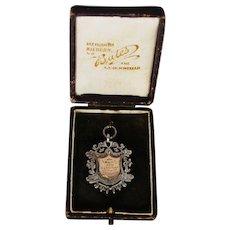 Edwardian English Sterling Gold Fob Medallion w/Case; circa 1909