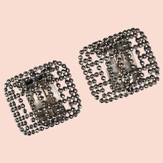 Edwardian French Cut Steel Shoe Buckles with Clips