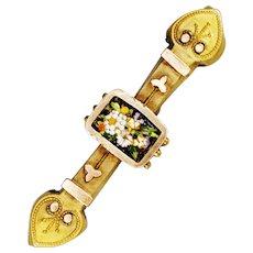 Vintage 9k/Brass Etruscan Revival Mosaic Brooch
