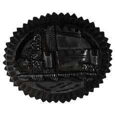 Victorian Bog Oak Muckross Abbey Brooch