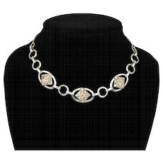 Vintage Sterling Danecraft Marcasite Choker Necklace