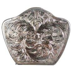 Vintage Engraved Silver Italian Powder Compact