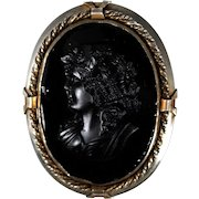 Large English Victorian Sterling and French Jet Cameo Brooch